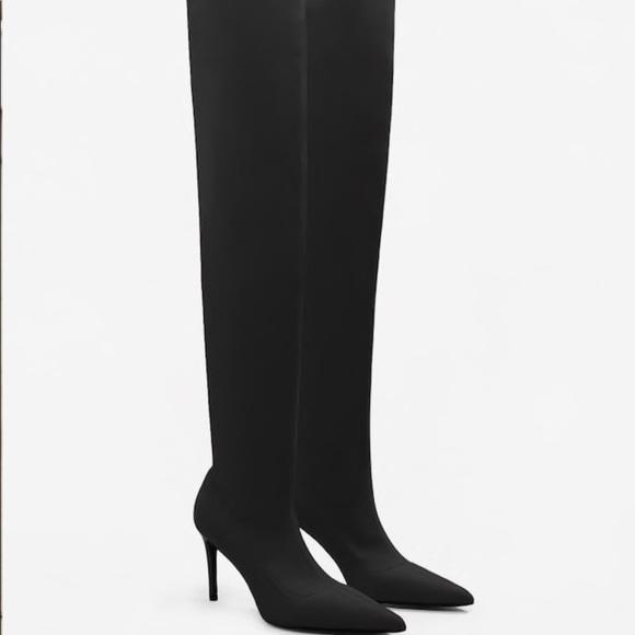 d6a14f4bfbf Mango black over the knee high heel boots. M 5a957bb32ab8c5d226663460